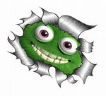 Ripped Torn Metal Design With Funny Cute Green Monster Motif External Vinyl Car Sticker 105x130mm